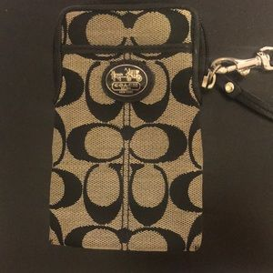 authentic black coach phone & card wallet